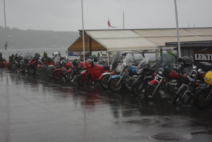 På rekke og rad i regnet.